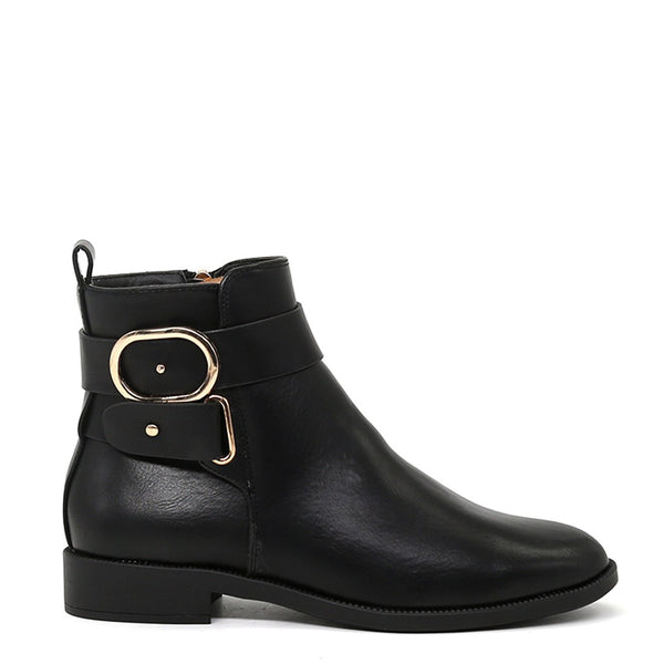 London Rag Women's Black Ankle Boots-SH1426BLACK