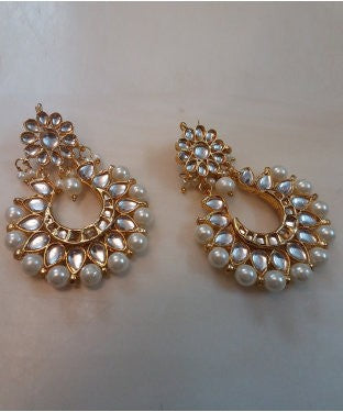 Aradhya Pearl Alloy, Copper, Stone Chandbali Earring