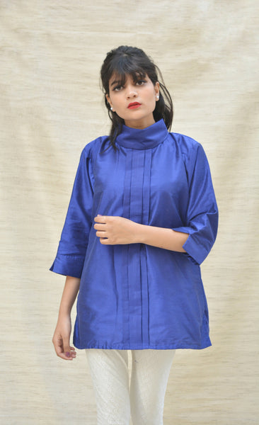 Khadi Silk Turtle Neck Blue Top $ IWK-000357