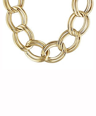 Polished Double Oval Link 18k Yellow Gold Over Bronze Necklace
