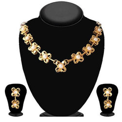 Tanishka Fashions Gold Plated Pearl Necklace Set