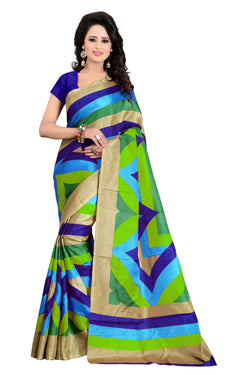 16TO60TRENDZ Multi Color Printed Bhagalpuri Silk Saree $ SVT00462