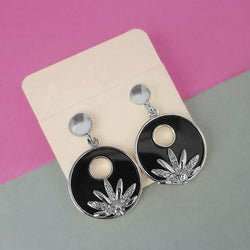 Austrian Stone Silver Plated Black Enamel Dangler Earrings