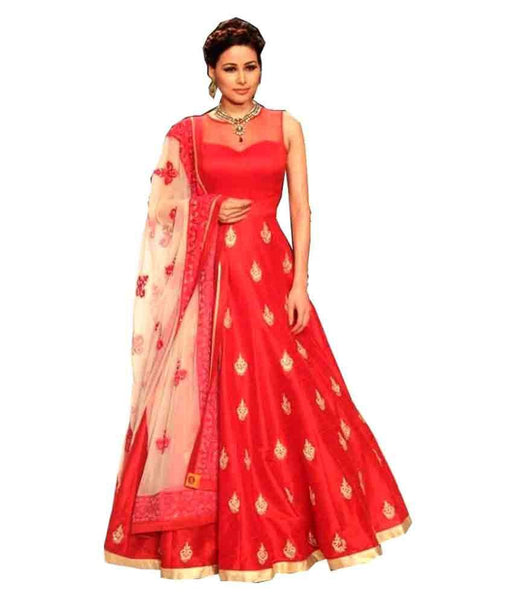 Pavitra Creation Designer Red Embroidered Banglori Silk Semi-stitched Anarkali Gown With Dupatta $ Ramp