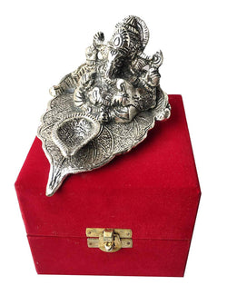 Silver Plated Leaf Ganesh with Diya God Idol - Best Gift for Diwali Gift/Corporate Gift (14 cm, Silver) $ IGSPBR101011