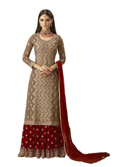 YOYO Fashion Georgette Straight Semi-Stitched salwar suit - $F1297-Red