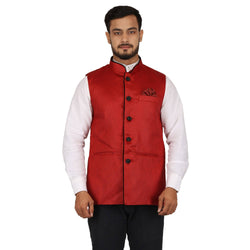 Singhal Fashion Red Jute Nehru Jacket