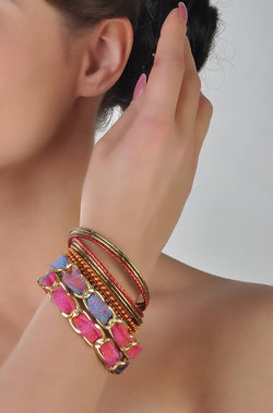 Bauble Burst Red Rush Bangles Stack
