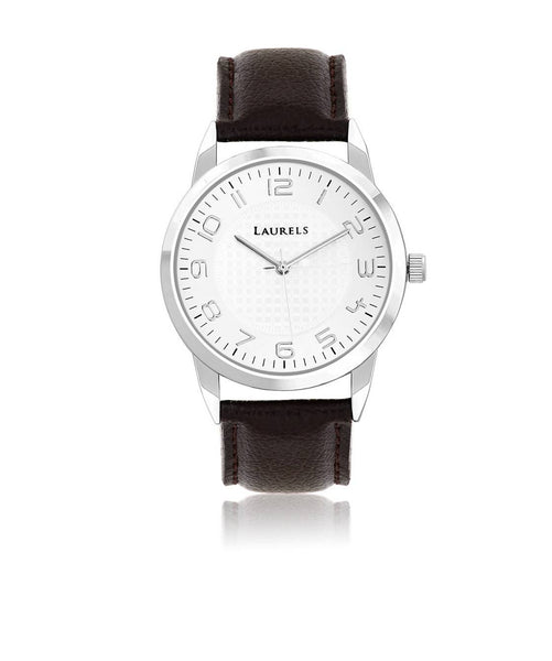 Laurels Silver/Silver/Brown Stainless Steel/Faux Leather MEN FORMALWATCH $ 100000872481