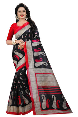16TO60TRENDZ Black Color Printed Bhagalpuri Silk Saree $ SVT00509