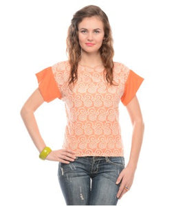 Viro Orange And Cream S/S Top