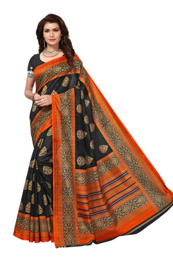 16TO60TRENDZ Black Color Printed Bhagalpuri Silk Saree $ SVT00484
