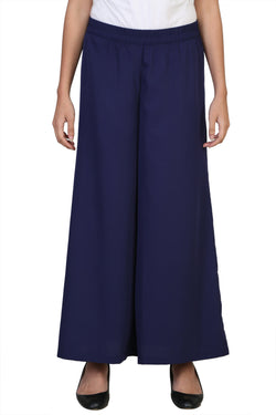 Vaniya Women Trouser Crepe Blue Solid Plazo $ VN-P103