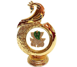 Gold Plated Peacock Shape Ganesh God Idol Car Dashboard 12 Cm Exclusive Gift Items for Diwali Gift, Wedding Gift and Corporate Gift $ IGSPBR1057