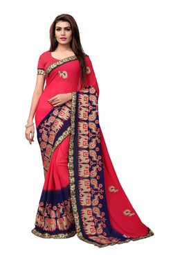 YOYO Fashion Embroidered Georgette Pink Saree With Blouse $ SARI2614