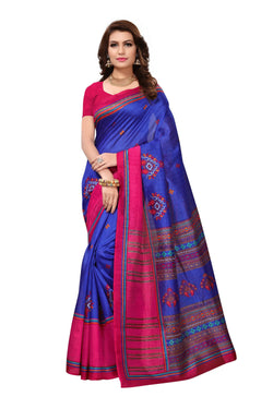 16TO60TRENDZ Blue Color Printed Bhagalpuri Silk Saree $ SVT00474