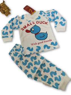 Cute Duck Printed Bear Twin Set Little Boy Girl Two Piece Set Tshirt & Pant for Baby Kids_Blue & White $ CP-KA22