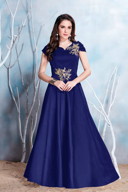 Manvi Fashion Women's Blue Color MODAL SATIN-(PURE FEB) Fabric Embroidery & Stone Work Gown $ MF 2150