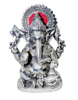 Silver Plated Ganesh God Idol Oxidized Silver Finish (28 cm, Silver) $ GSI-126