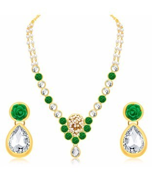 Sukkhi Intricately Flower Crafted Gold Plated AD Necklace Set For Women