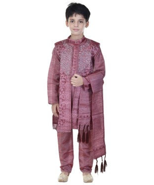Soundarya Silk Cotton Blend Magenta Embellished Sherwani and Churidar