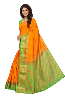 16to60trendz Yellow and Green Tusar Silk Handloom Art Work Kanjivaram saree $ SVT00007