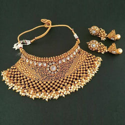 Tanishka Fashions AD Stone Pearl Choker Copper Necklace Set