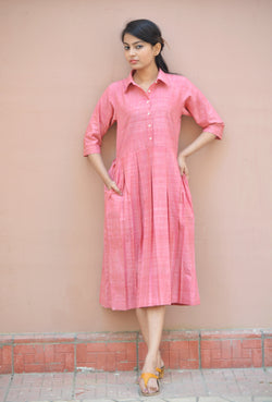 Pink Khadi Cotton Pleated Maxi Dress with shirt Collar $ IWK-000480