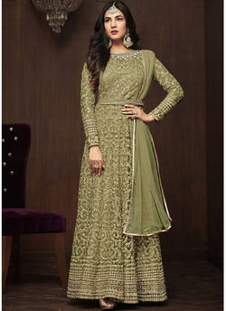 YOYO Fashion Green Net Anarkali Semi-Stitched Salwar Suit With Dupatta $ F1283-Green