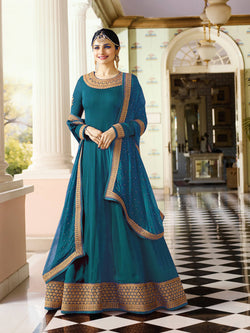 YOYO Fashion Latest Fancy Semi-stitched Faux Georgette Embroidered Anarkali Salwar Suit $YO-F1216-Firoji