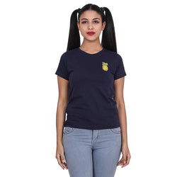Second Half Navy Blue Top with Pineapple Patch-SH0063
