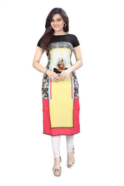 Manvi Fashion Women's Designer Partywear Multi Color American Crepe Fabric Digital Printed Readymade Kurti $ MF 2844
