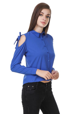 Fashians Shoulder Cut Full Sleeve Blue Shirt $ FS-1700031