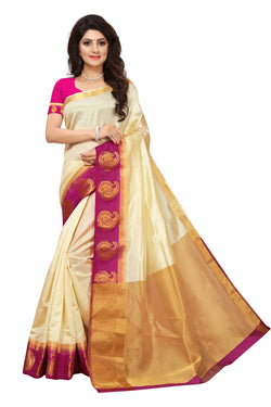 16to60trendz Beige and Pink Tusar Silk Handloom Art Work Kanjivaram saree $ SVT00018