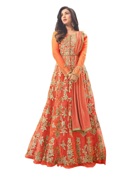 YOYO Fashion Latest Fancy Semi-stitched  Net Embroidered Anarkali Salwar Suit Gown$F1211-Orange
