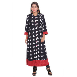 Chhapai 3/4 Sleeve Printed Black Straight Chanderi Kurti $ CK-1009