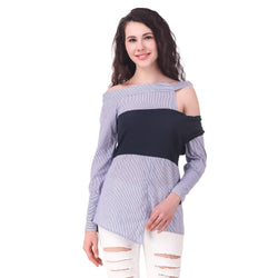Fame 16 Full Sleeves Women's Asymmetric Neck Blue Cotton Shirts $ F16-1600206