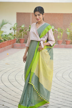Grey and Green Khadi Cotton Saree with Pom-Pom $ IWK-GRN-01