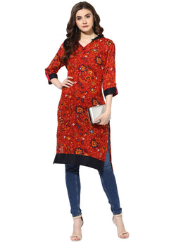 AANVI Women's Rust Rayon Printed Straight Kurta $ 7000008-RUST