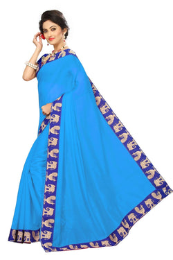 16to60trendz Sky Blue Chanderi Lace Work Chanderi Saree $ SVT00247