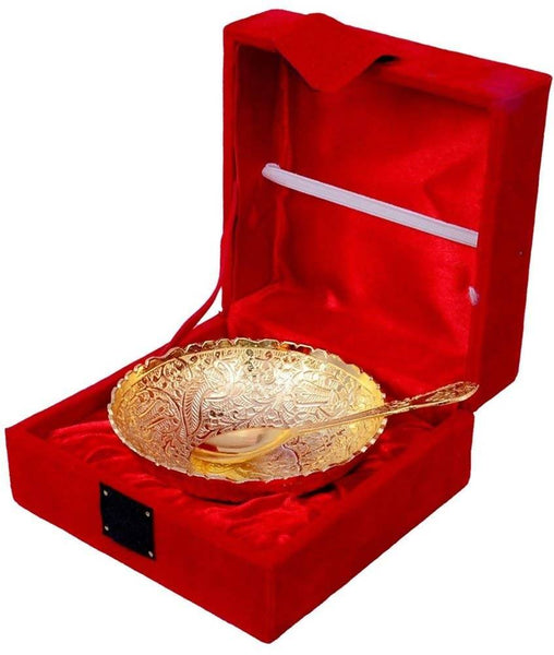 Gold Plated Bowl with Gold Plated Spoon (Set of 2 Pics, Gold) with Velvet Box Packing Exclusive Gift Items for Diwali Gift, Wedding Gift and Corporate Gift $ IGSPBR106