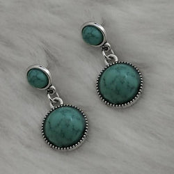 Silver Plated Blue Turquoise Stone Dangler Earrings