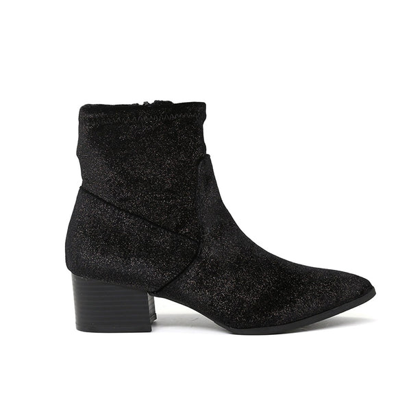 London Rag Women's Black Glittery Ankle Boots-SH1494BLACK