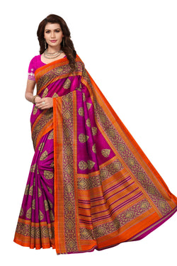 16TO60TRENDZ Pink Color Printed Bhagalpuri Silk Saree $ SVT00492