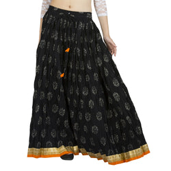 La Vastraa's Printed Black Cotton Skirt-LS029