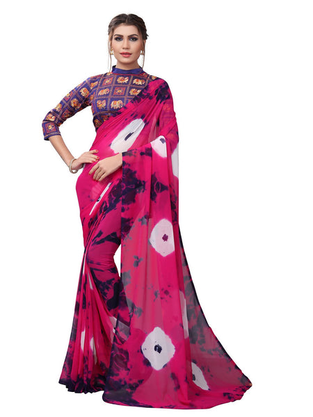 YOYO Fashion Printed Georgette Pink Saree With Blouse $ YOYO-SARI2618