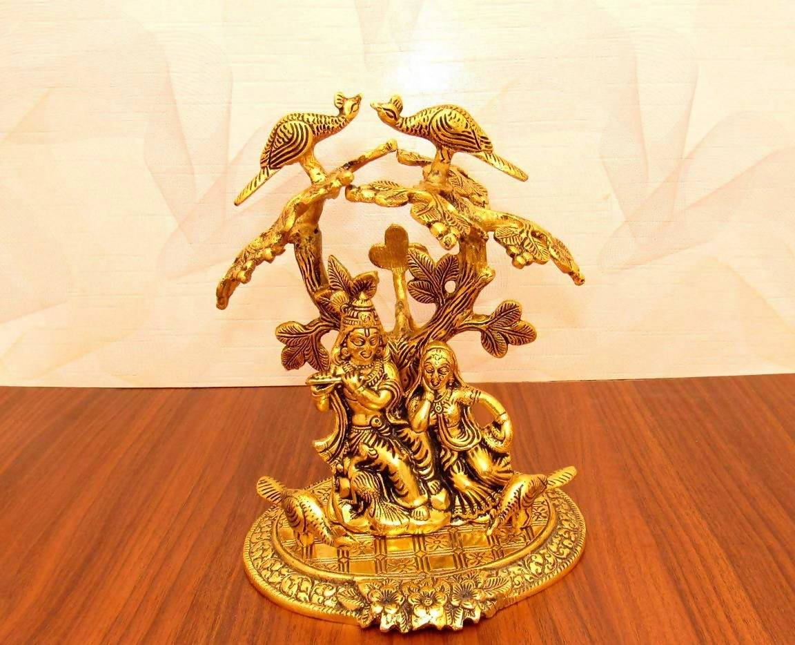 Gold Plated Radha Krishna God Idol Murti Exclusive Gift for