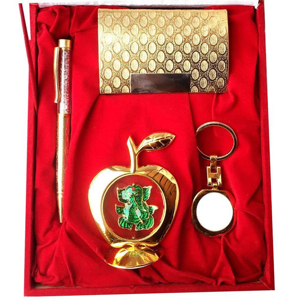 Gold Plated Ball Pen with Visiting Card Holder with Key Ring and Apple Shape Ganesh God Idol Car Dashboard and Home Temple with Velvet Box $ IGSPBR101046