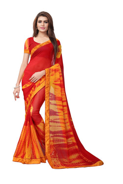YOYO Fashion Printed Georgette Red Saree With Blouse $ YOYO-SARI2616-Red