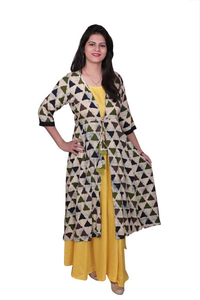 Libas Cotton Dress/Long Dress/Maxi Dress/Long Kurti with Printed Jacket $ Libas-055